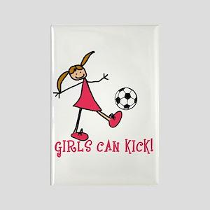 Girls Soccer Girls Can Kick Rectangle Magnet