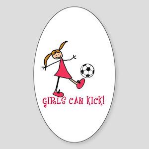 Girls Soccer Girls Can Kick Oval Sticker