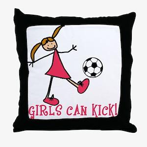 Girls Soccer Girls Can Kick Throw Pillow