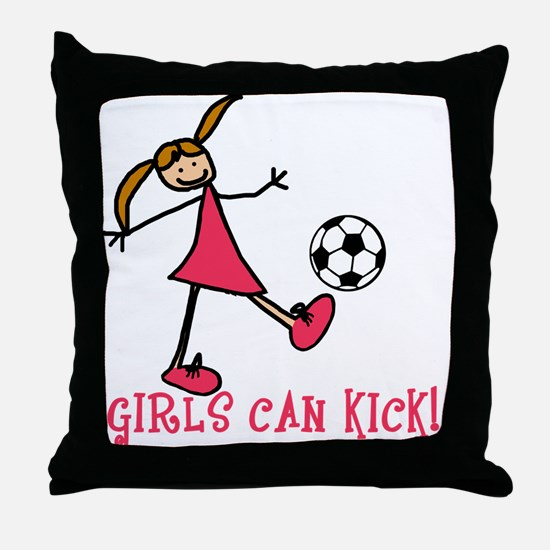 Girls Soccer Girls Can Kick Throw Pillow