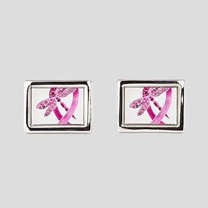 Pink Survivor Ribbon Rectangular Cufflinks
