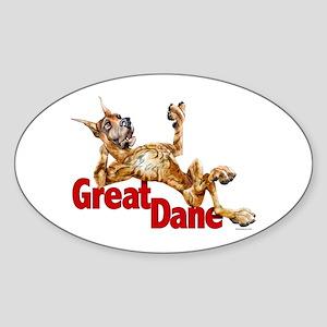 Great Dane Brindle LB Oval Sticker