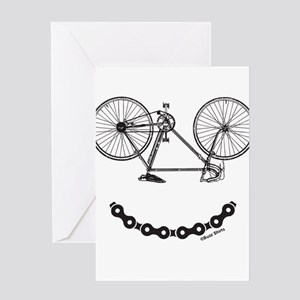 Mens Ladies Smiley Bicycle Chain Fu Greeting Cards