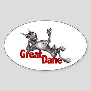 Great Dane Black LB Oval Sticker