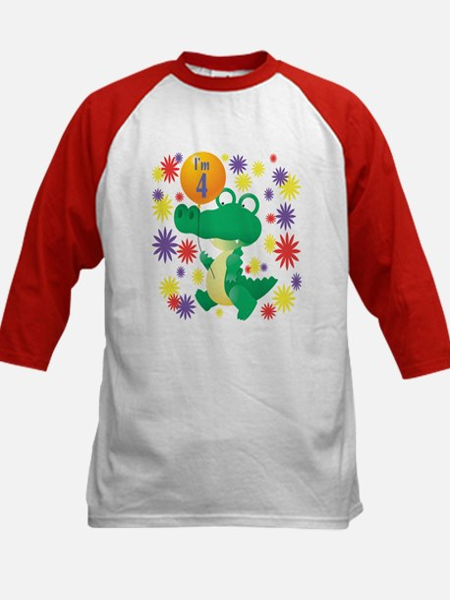 I'm 4 Birthday Alligator Kids Baseball Jersey