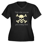Take what you can Women's Plus Size V-Neck Dark T-