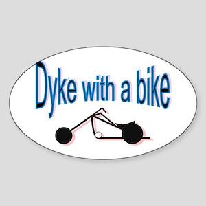 Dyke on a bike Oval Sticker