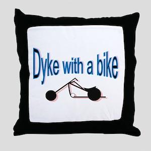 Dyke on a bike Throw Pillow