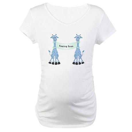 Blue Giraffes Maternity T-Shirt
