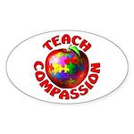 Teach Compassion Oval Sticker
