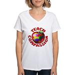 Teach Compassion Women's V-Neck T-Shirt