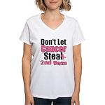 Don't Let Cancer Steal 2nd Base Women's V-Neck T-S