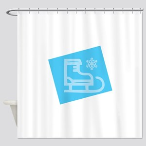 Hockey Skate - Snowflake Shower Curtain