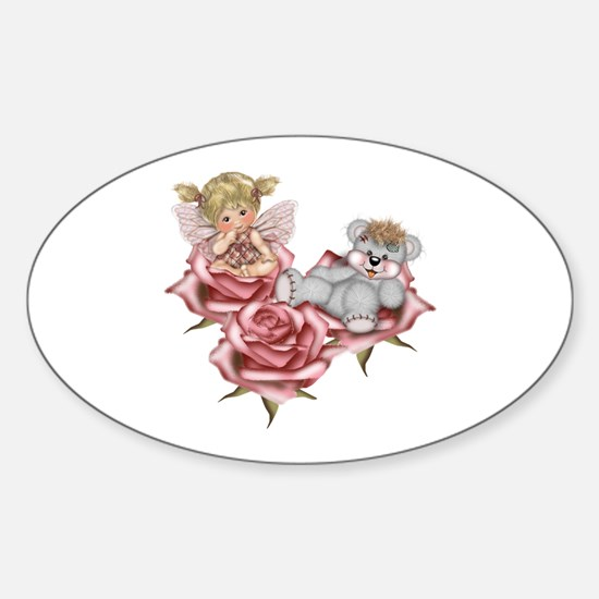 PINK ROSES Oval Decal