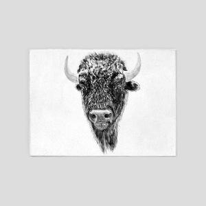 Buffalo, American Bison Spirit Anim 5'x7'Area Rug