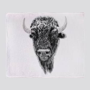 Buffalo, American Bison Spirit Anima Throw Blanket