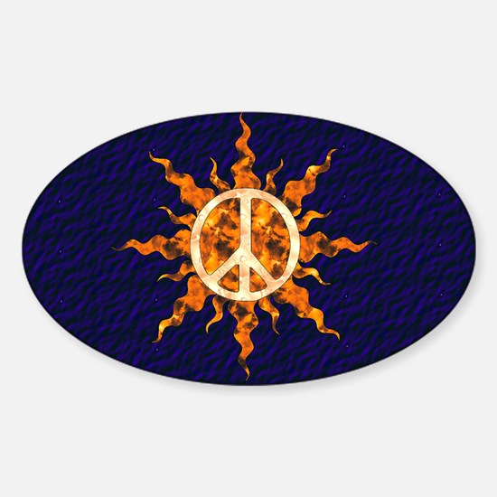 Flaming Peace Sun Sticker (Oval)