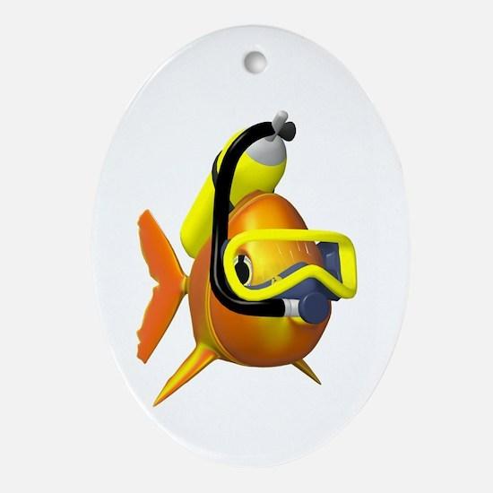 Scuba Fish Oval Ornament