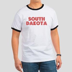 Retro South Dakota (Red) Ringer T