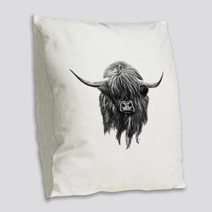 Wee Hamish The Scottish Highla Burlap Throw Pillow