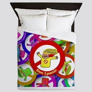 Rainbow Happy Don't Panic Queen Duvet