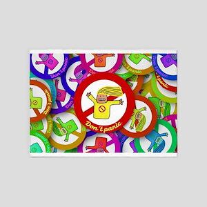 Rainbow Happy Don't Panic 5'x7'Area Rug