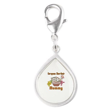 European Shorthair Cats Mum Silver Teardrop Charm