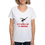 Fit Girls do it longer (Logo) Women's V-Neck T-Shi