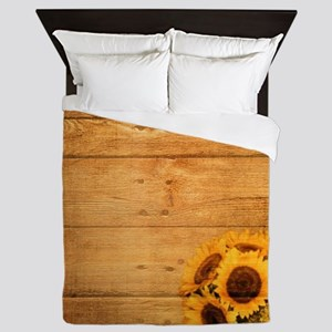 western country barnwood sunflower Queen Duvet