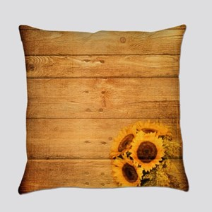 western country barnwood sunflower Everyday Pillow