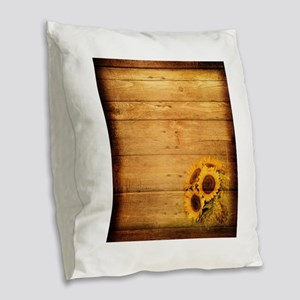 western country barnwood sunfl Burlap Throw Pillow