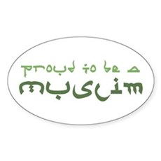 Proud To Be A Muslim Oval Sticker