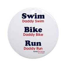 Triathlon Daddy Ornament (Round)