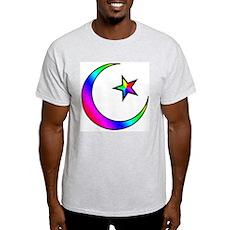 Rainbow Islamic Symbol Ash Grey T-Shirt