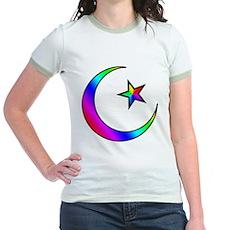 Rainbow Islamic Symbol Jr. Ringer T-Shirt