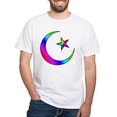Rainbow Islamic Symbol White T-Shirt