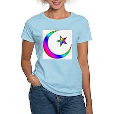 Rainbow Islamic Symbol Women's Pink T-Shirt