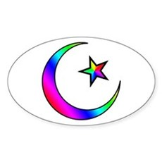 Rainbow Islamic Symbol Oval Sticker