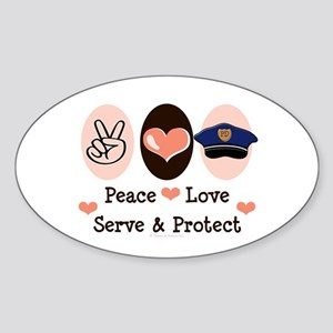 Peace Love Police Officer Oval Sticker