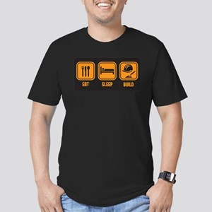 Eat Sleep build in orange with black background T-
