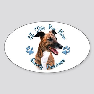 Brindle Couch Oval Sticker