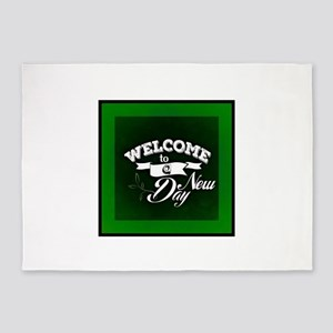 Green Welcome to a New Day 5'x7'Area Rug