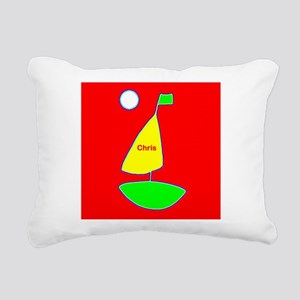 Sailboat Red Green Saili Rectangular Canvas Pillow