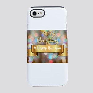 Gold Ribbon Merry Christmas iPhone 8/7 Tough Case