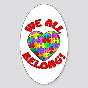 We All Belong! Oval Sticker