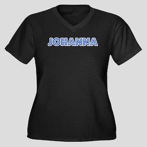 Retro Johanna (Blue) Women's Plus Size V-Neck Dark