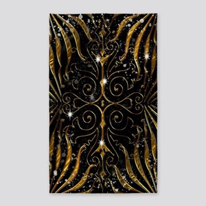 Black and Gold Victorian Sparkle Area Rug
