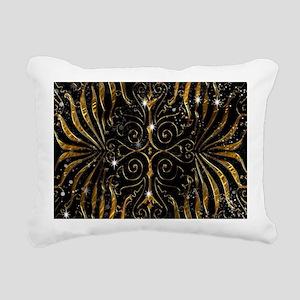 Black and Gold Victorian Rectangular Canvas Pillow