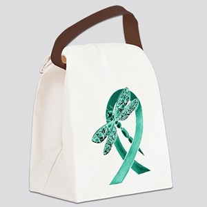 Teal Ribbon Canvas Lunch Bag