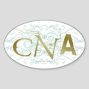 CNA Intricate Grunge Graphic Oval Sticker
